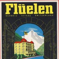 Etiquetas antiguas: ETIQUETA HOTEL-SUIZA -HOTEL URNERHOF - ILUSTRACION HUECO BARNIZ BRILLO -FLÜLEN -90 X115 MM. Lote 24322396