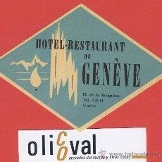 Etiquetas antiguas: ETIQUETA HOTEL-SUIZA -HOTEL DE GENÉVE - ILUSTRACION HUECO DAT ADA-GENEVE- ROMBO 118 MM . Lote 24322399
