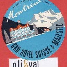 Etiquetas antiguas: ETIQUETA HOTEL-SUIZA -GRD,HOTEL SUISSE&MAJESTIC -MONTREUX-- ILUSTRACION HUECO DATADA- 105 MM. Lote 23523942