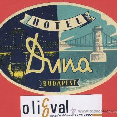 Etiquetas antiguas: ETIQUETA HOTEL - BULGARIA - HOTEL DUNA -BUDAPEST- ILUSTRACION- -HUECO - OVAL 135 MM . Lote 24084247