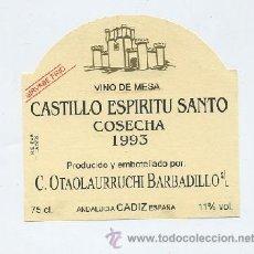 Étiquettes anciennes: ETIQUETA VINO CASTILLO ESPIRITU SANTO-COSECHA 1993-CA DIZET-230,7. Lote 95502786