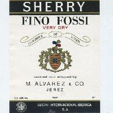 Etiquetas antiguas: ETIQUETA VINO SHERRY FINO FOSSI VERY DRY. M. ALVAREZ & CO. -JEREZ (ET-243,21). Lote 19957608