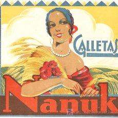 Etiquetas antiguas: ETIQUETA DE CAJA DE GALLETAS NANUC-IBA PEGADA EN LA TAPA- 21 X23,4 CMS - VELL I BELL. Lote 25552325