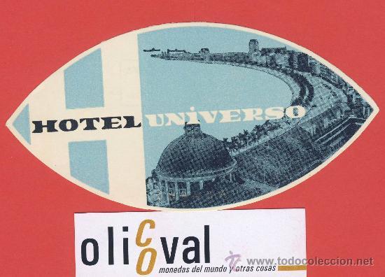 ETIQUETA HOTEL- PORTUGAL - HOTEL UNIVERSO -LISBOA- ILUSTRACION FOTOGRAFICA -HUECO -OVAL-135 MM (Coleccionismo - Etiquetas)