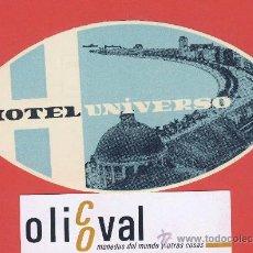 Etiquetas antiguas: ETIQUETA HOTEL- PORTUGAL - HOTEL UNIVERSO -LISBOA- ILUSTRACION FOTOGRAFICA -HUECO -OVAL-135 MM. Lote 23291769