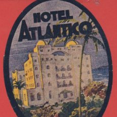 Etiquetas antiguas: ETIQUETA HOTEL -ESPAÑA - HOTEL ATLÁNTICO CADIZ -ILUSTRACION HUECO TROQUELADA OVAL 135 -MM. Lote 27422350