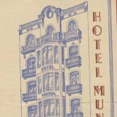 Étiquettes anciennes: ETIQUETA HOTEL-ESPAÑA-HOTEL MUNDIAL -LERIDA--ILUSTRACIOPN DATADA -DOBLEZ -140X80-MM. Lote 24203959