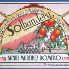 Etiquetas antiguas: ETIQUETA NARANJAS. SOLBANDERA. DANIEL MARTINEZ ROMERO. ALCIRA. VALENCIA, SIN FECHA.. Lote 20593175