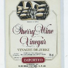 Etiquetas antiguas: ETIQUETA SHERRY WINE VINEGAR-VINAGRE DE JEREZ. MALOMA WINE CO. - JEREZ (ET-642). Lote 20707408