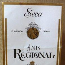 Etiquetas antiguas: ETIQUETA ANIS SECO REGIONAL, BERNARDO VILA, 1 LITRO. Lote 20802945