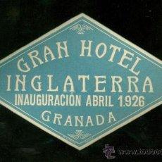 Etiquetas antiguas: ETIQUETA DE GRAN HOTEL INGLATERRA. GRANADA.. Lote 21529775