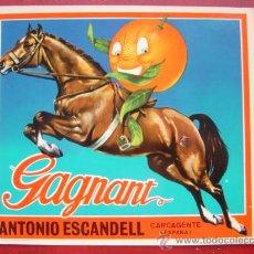 Etiquetas antiguas: 25 ETIQUETAS NARANJAS GAGNANT, ANTONIO ESCANDELL, CARCAGENTE, VALENCIA. Lote 157218444