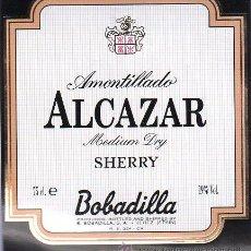 Etiquetas antiguas: ETIQUETA DE AMONTILLADO ALCAZAR. MEDIUM DRY SHERRY. BOBADILLA. . Lote 21833973