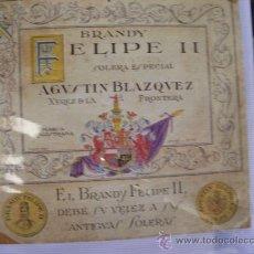 Etiquetas antiguas: JEREZ DE LA FRONTERA-FELIPE II-PINTADA-RARISIMA-SE VENDE TAL CUAL SE VE . Lote 26992611