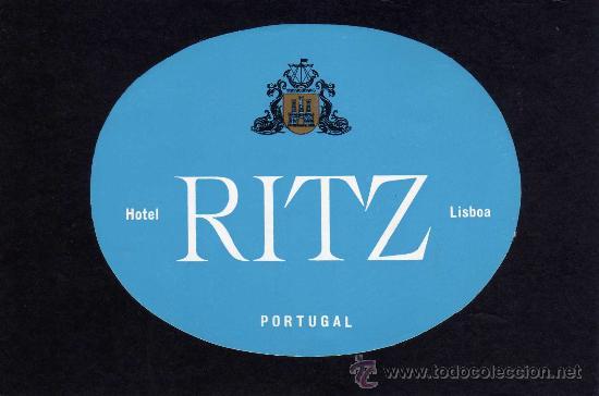 ETIQUETA HOTEL - HOTEL RITZ - LISBOA - PORTUGAL. (Coleccionismo - Etiquetas)