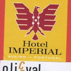 Etiquetas antiguas: ETIQUETA HOTEL -PORTUGAL -HOTEL IMPERIAL -AVEIRO.-ILUSTRACION-HUECO - OVAL - 105 MM.. Lote 23548958