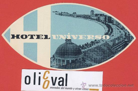 ETIQUETA HOTEL-PORTUGAL -HOTEL UNIVERSO-.LISBOA-ILUSTRACION-HUECO- OVAL -130 MM. (Coleccionismo - Etiquetas)