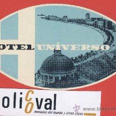 Etiquetas antiguas: ETIQUETA HOTEL-PORTUGAL -HOTEL UNIVERSO-.LISBOA-ILUSTRACION-HUECO- OVAL -130 MM.. Lote 23552779