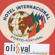Etiquetas antiguas: ETIQUETA HOTEL-PORTUGAL -HOTEL INTERNACIONAL-PORTO-PORTUGAL-ILUSTRACION- HUECO - OVAL 100 MM. Lote 23558831