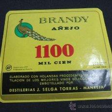 Etiquetas antiguas: ETIQUETA - BRANDY AÑEJO MIL CIEN - DESTILERIAS J. SELGA TORRAS - MANRESA - . Lote 23684929
