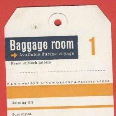 Etiquetas antiguas: ETIQUETA HOTEL-LINEAS MARITIMAS-BAGGAGE ROOM 1 -TARJETA CARTULINA-HUECO-140 X 83 MM. Lote 24101439