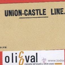 Etiquetas antiguas: ETIQUETA HOTEL-LINEAS MARITIMAS-UNION CASTLE LINE -TARJETA CARTULINA-HUECO-135X 60 MM. Lote 24101533