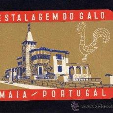 Etiquetas antiguas: ETIQUETA HOTEL - ESTALAGEM DO GALO - MAIA - PORTUGAL.. Lote 25808900