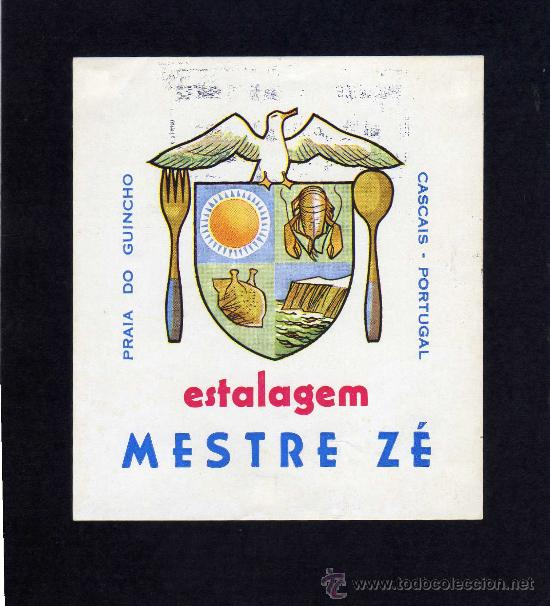 ETIQUETA HOTEL - ESTALAGEM MESTRE ZÉ - CASCAIS - PORTUGAL. (Coleccionismo - Etiquetas)