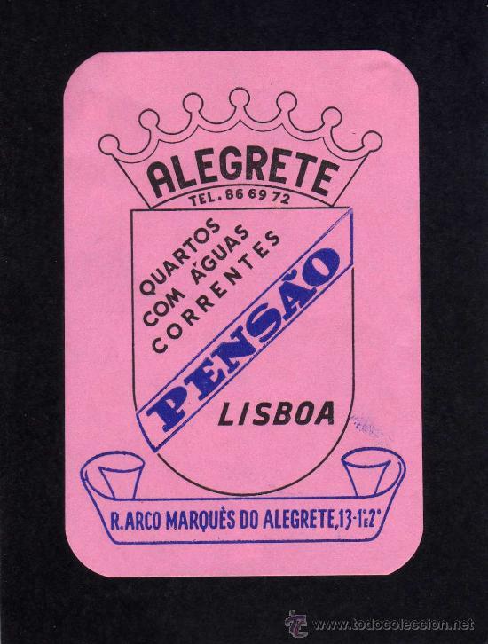 ETIQUETA HOTEL - PENSAO LISBOA - ALEGRETE - PORTUGAL. (Coleccionismo - Etiquetas)