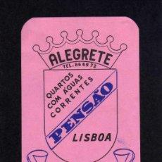 Etiquetas antiguas: ETIQUETA HOTEL - PENSAO LISBOA - ALEGRETE - PORTUGAL.. Lote 24163149