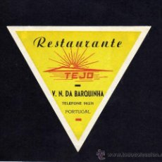 Etiquetas antiguas: ETIQUETA HOTEL - RESTAURANTE TEJO - V. N. DA BARQUINHA - PORTUGAL.. Lote 24341166