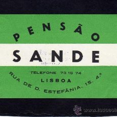Etiquetas antiguas: ETIQUETA HOTEL - PENSAO SANDE - LISBOA - PORTUGAL.. Lote 24341236