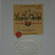 Etiquetas antiguas: LOTE DE ETIQUETAS DE LA DESTILERÍA DE ALCOOLES CALDERON DE SANTANDER.(VER FOTOS ADICIONALES). Lote 24713562