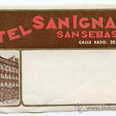 Etiquetas antiguas: ETIQUETA HOTEL SAN IGNACIO DE SAN SEBASTIÁN. Lote 32067265