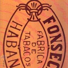 Etiquetas antiguas: ETIQUETA PEGATINA DE PUROS FONSECA IDEAL PARA CUADROS. Lote 25572102