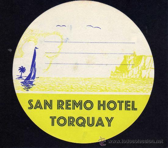 ETIQUETA HOTEL - SAN REMO HOTEL - TORQUAY - INGLATERRA. (Coleccionismo - Etiquetas)