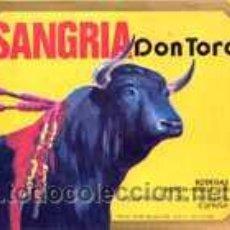 Etiquetas antiguas: SANGRIA. DON TORO. BODEGAS BOSCH-GUELL. . Lote 25923901