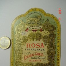 Etiquetas antiguas: ETIQUETA PRECIOSA - ROSA ESCARCHADA - REAL DE MONTROY - VALENCIA. Lote 26032785
