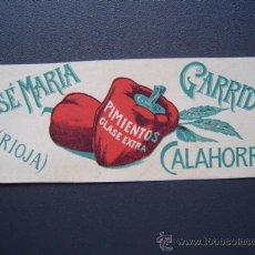 Etiquetas antiguas: ETIQUETA FABRICA DE CONSERVAS - JOSE MARIA GARRIDO - CALAHORRA - 1903 - PIMIENTOS - LITOGRAFIA. Lote 26324214