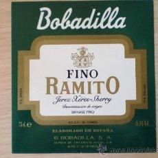 Etiquetas antiguas: ETIQUETA DE VINO FINO RAMITO. BOBADILLA S. A., JEREZ.. Lote 26996840
