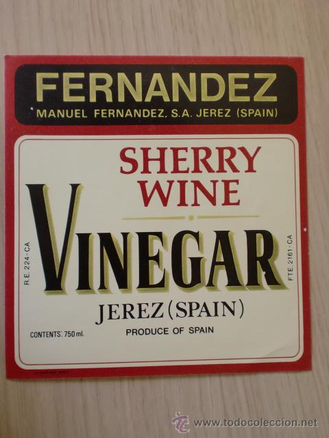 ETIQUETA DE VINO. SHERRY WINE. VINEGAR. MANUEL FERNANDEZ, S. A.. JEREZ. (Coleccionismo - Etiquetas)