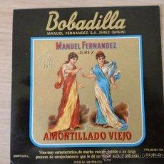 Etiquetas antiguas: ETIQUETA DE VINO. BOBADILLA AMONTILLADO VIEJO. MANUEL FERNANDEZ, S. A. JEREZ.. Lote 27030435