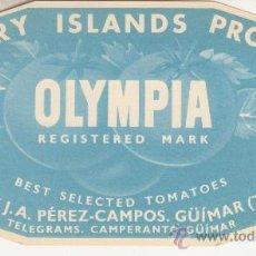 Etiquetas antiguas: ETIQUETA ORIGINAL. PRODUCTO ISLAS CANARIAS. OLYMPIA. Lote 27749888