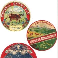 Etiquetas antiguas: BONITO LOTE DE 3 ETIQUETAS ANTIGUAS DE QUESO. Lote 27911702