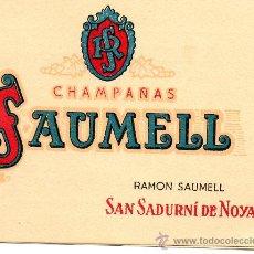 Etiquetas antiguas: LISTA PRECIOS SAUMELL CAMPAÑAS RAMÓN SAUMELL SAN SADURNÍ DE NOYA BARCELONA. Lote 28273979