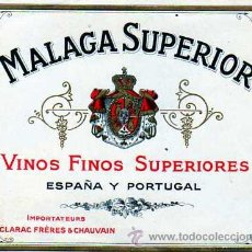 Etiquetas antiguas: ETIQUETA DE MALAGA SUPERIOR. VINOS FINOS SUPERIORES. ESPAÑA Y PORTUGAL. 12,50 X 10 CM.. Lote 28339081