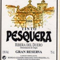 Etiquetas antiguas: VINO TINTO PESQUERA 1995 RIBERA DEL DUERO DENOMINACIÓN DE ORIGEN GRAN RESERVA NUEVO ORIGINAL. Lote 195216618