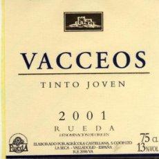 Etiquetas antiguas: VINO TINTO JOVEN 2001 VACCEOS RUEDA DENOMINACIÓN DE ORIGEN NUEVA ORIGINAL. Lote 28843459