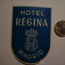 Etiquetas antiguas: 451 HOTEL REGINA MADRID - ESPAÑA ETIQUETA HOTEL - MIRA MAS EN MI TIENDA. Lote 28866548
