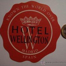 Etiquetas antiguas: 452 HOTEL WELLINGTON MADRID - ESPAÑA ETIQUETA HOTEL - MIRA MAS EN MI TIENDA. Lote 28866556